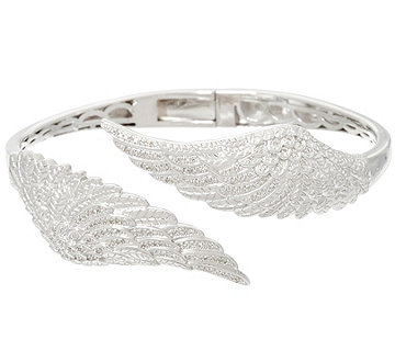 Angel Wing Diamond Bangle Sterling, 1/3 cttw, by Affinity - J329547