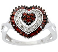 Red &White Diamond Heart Ring Sterling 1/2 cttw by Affinity