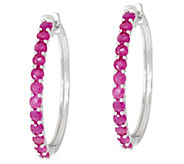 Ruby, Emerald or Sapphire Sterling Silver Hoop Earrings 1.50 cttw - J330247