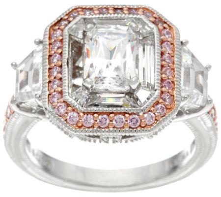 diamonique emerald cut ring w pink halo platinum clad