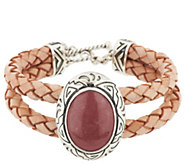 As IsAmerican West Sterling Rhodonite Braided Leather Toggle Bracelet - J332747