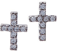 Diamonique Bitty Cross Earrings, Sterling - J333647