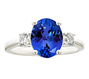 Premier 3ct Oval Tanzanite & 3/10cttw Diamond Ring, 14K - J336247