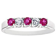 5-Stone Ruby and Diamond Band Ring, 14K Gold - J336747