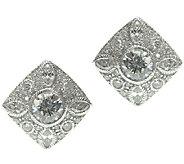 Judith Ripka Sterling Diamond-Shape Diamonique Button Earrings - J337947