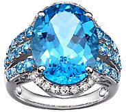15.50cttw Blue Topaz & White Topaz Gemstone Ring, Sterling - J338547