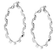 UltraFine Silver 1-1/2 Round Twisted Hoop Earrings - J339947