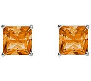 Princess-Cut Gemstone Basket Stud Earrings, Sterling Silver - J340347