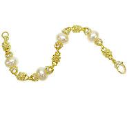 Judith Ripka Sterling/14K Clad Pearl Station 6-3/4 Bracelet - J340647