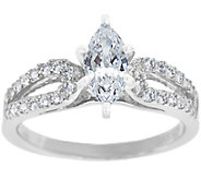 Curved Diamond Ring, 14K White Gold 1/2 cttw,by Affinity - J341447