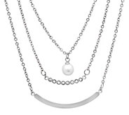 Stainless Steel Layered Simulated Pearl Necklace - J341747