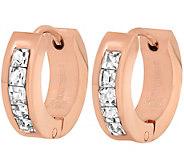 Stainless Steel Crystal-Lined Huggie Hoop Earrings - J342147