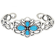 Carolyn Pollack Sleeping Beauty Turquoise Sterling Scroll Cuf - J343247
