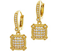 Judith Ripka 14K Clad Pave Diamonique Lever Back Earrings - J347047