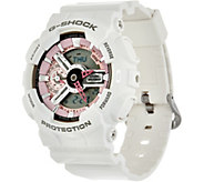 G-Shock Womens Analog Digital Pink on White Resin Watch - J347847