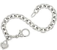 Judith Ripka Verona Rolo Link Heart Drop Bracelet 16.0g - J348347