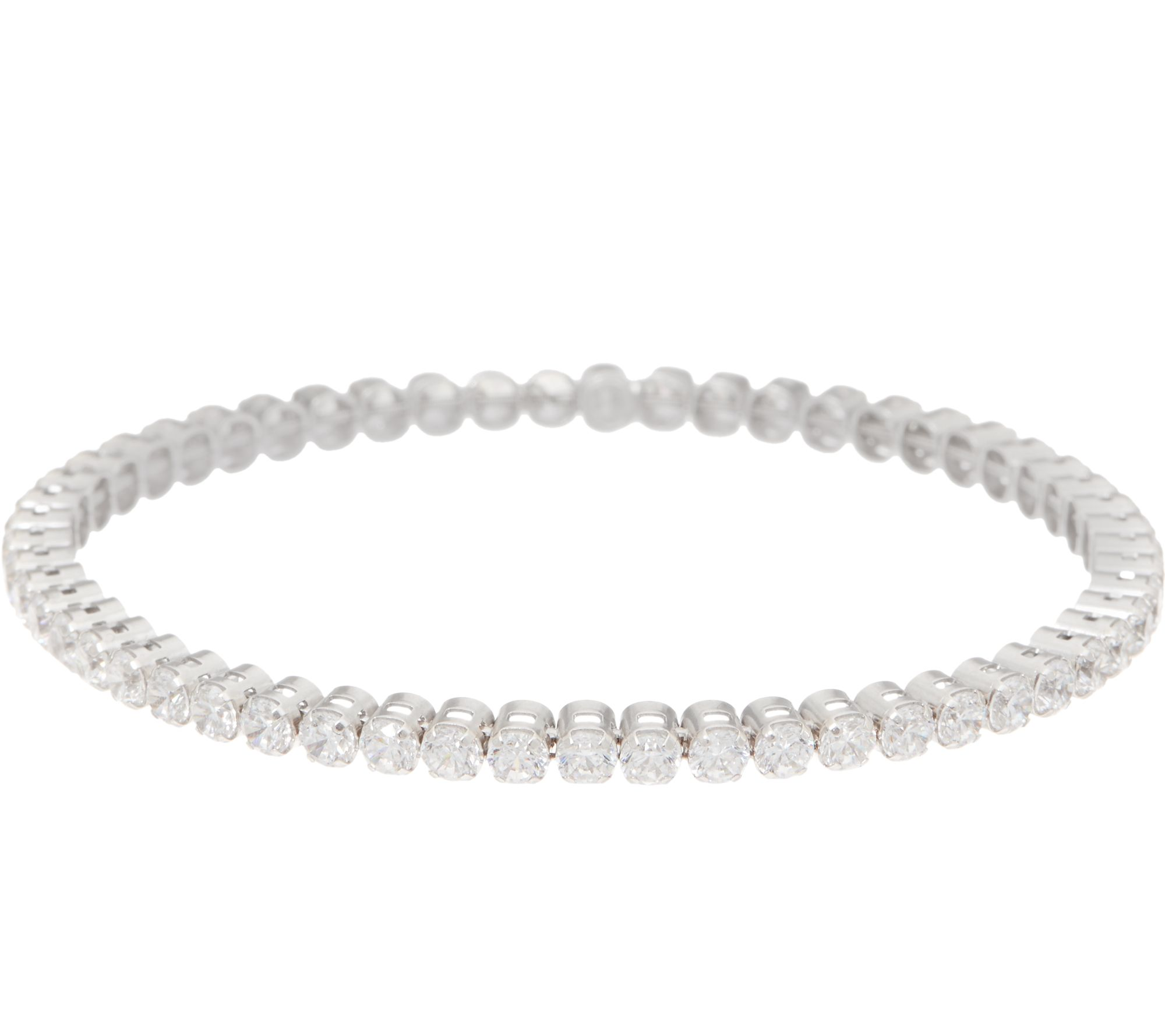 Diamonique Stretch Tennis Bracelet Sterling Or 14k Gold Clad J352947