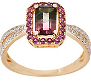 1.90 cttw Watermelon Tourmaline & Rhodolite Ring, 14K Gold - J354247