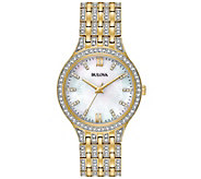 Bulova Womens Goldtone Crystal Bracelet Watch - J375147
