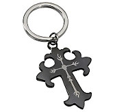 Forza Stainless Steel Black-Plated Cross Key Chain - J109448