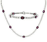 Judith Ripka Rhodolite and Diamonique Tennis Bracelet or Necklace - J20348