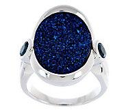 Oval Drusy Quartz & Gemstone Sterling Ring - J269148