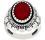 American West Oval Coral Scallop Design Sterling Silver Ring - J278748