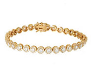 Diamonique Halo Tennis Bracelet, Sterling or 14K Yellow Clad - J280848