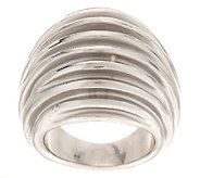 As Is Italian Silver Sterling Dimensional Robbed Satin Domed Ring - J284248
