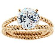 Diamonique 2.00 cttw 100-Facet Solitaire Ring, 14K Clad - J289148