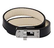 Stainless Steel Double Wrap Leather Fancy Clasp Bracelet - J289748