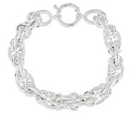 Sterling 8 Polished and Textured Status Link Bracelet, 32.5g - J290348