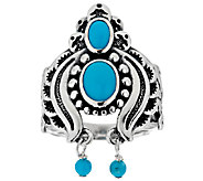 American West Sleeping Beauty Turquoise Sterling Naja Ring - J290848
