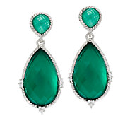 Judith Ripka Sterling Green Goddess Pear Doublet Drop Earrings - J292348