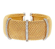 VicenzaSilver Sterling Bold Coreana Mesh Diamonique Station Cuff - J293748