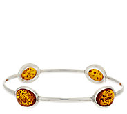 Baltic Amber Small Slip-On Sterling Bangle - J295548