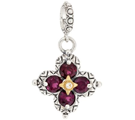 Barbara Bixby Sterling &18K Gemstone Flower Charm