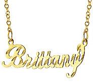 14K Gold Diamond-Cut Name Plate Necklace - J308048