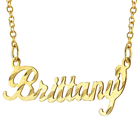 14K Gold Diamond-Cut Name Plate Necklace
