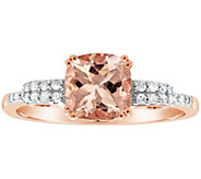 1.00 cttw Morganite & 1/10 cttw Diamond Ring, 14K Plated - J311548