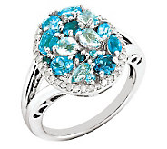 1.60ct tw Blue Topaz & 1/5ct tw Diamond Sterling Oval Ring - J311848