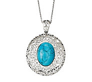 Stainless Steel 18 Simulated Turquoise Filigree Necklace - J313148