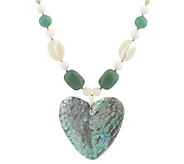 Lee Sands Shell Inlay Heart Pendant on GemstoneBead Necklace - J315048