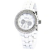 Disney Womens Mickey White Enamel Watch - J315548