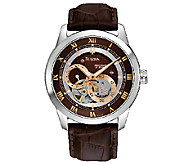 Bulova Mens Automatic Brown Leather Strap Watch - J316448
