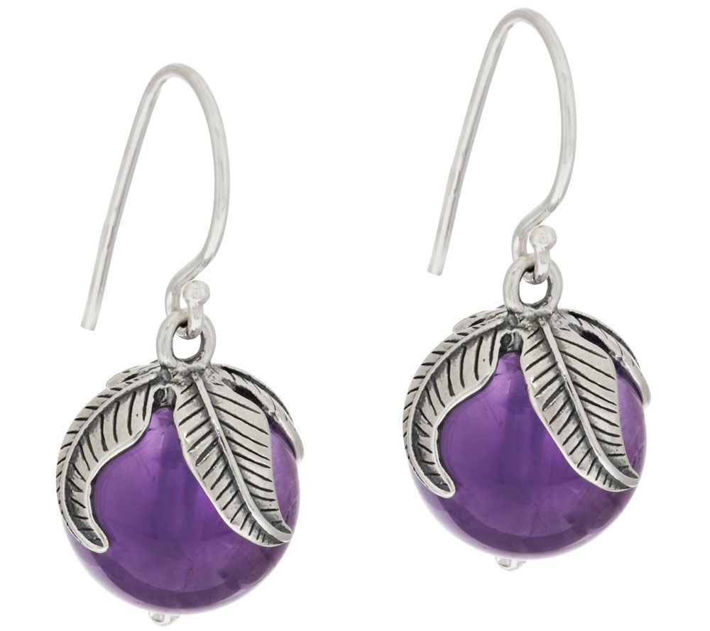 sterling silver gemstone bead leaf design drop earrings by