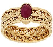 14K Gold Woven Gemstone Cabochon Band Ring - J318848