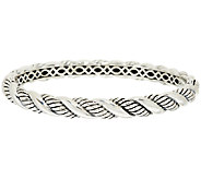 JAI Sterling Croco or Sukhothai Textured Hinged Bangle Bracelet - J318948