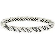 JAI Sterling Croco or Sukhothai Textured Hinged Bangle Bracelet - J318948