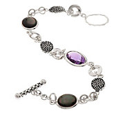 As Is Michael DawkinsSterling 3.75ct Amethyst Mother-of-Pearl Toggle Bracelet - J323648